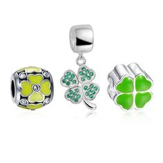 Lucky Clover Charm Set 925 Sterling Silver