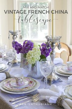 Vintage Tablescape | I absolutely love French country table decor with simple DIY centerpieces for chic dinner parties. Here's how to use vintage china to set a beautiful tablescape. -----> #tablesettings #tabledecorations #tablescapes #tabledecor #eleganttablesettings #vintagechina #tablesettingideas #beautifultablesettings #vintagetablescapes #frenchchina