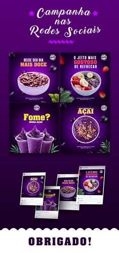 Social Media I Açaí on Behance Social Media Poster, Social Media Branding, Social Media Banner, Social Media Template, Social Media Design, Social Media Graphics, Social Media Marketing, Food Graphic Design, Web Design