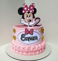 Torta Minnie Mouse, Mickey Mouse Birthday Cake, Bolo Minnie, Baby Birthday Cakes, Minnie Mouse Party, Simple Birthday Decorations, Elegant Birthday Cakes, Balloon Decorations Party, Fashion Cakes