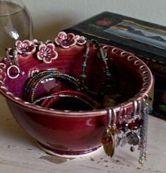 Earring holder Earring bowl Jewelry Bowl Rasberry by redhotpottery, $38.00