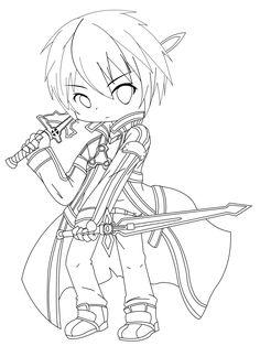 kirito sword art online coloring page