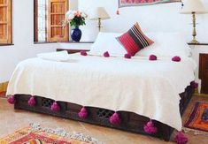 Throw blanket Cotton Moroccan Pompom Blanketbedroom blanket   Etsy Moroccan Bed, Moroccan Wedding Blanket, Cal King Bedding, Twin Xl Bedding, King Bed Covers, King Size Blanket, Camas King, Cotton Blankets, Warm Blankets