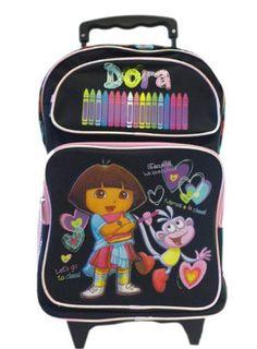 Dora the Explorer Large Backpack - Black Crayon - card sites Girls Rolling Backpack, Dora Games, Black Crayon, Couples Coupons, Love Coupons, Dora The Explorer, Summer Tshirts, T Shirt Diy, Warm Coat