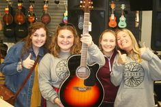 When you get a new Takamine, everyone wants to get in on the act. Backstage Music, Takamine Guitars, Music Store, Teaching Music, Music Lessons, Ukulele, Mississippi, Acting, Music Instruments