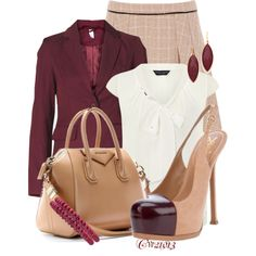 *PROFESSIONAL OUTFIT* NUDE GUESS BAG - Tweed A-Line Skirt, Cream Blouse, Burgundy Cardigan & Burgundy Heel Shoes.