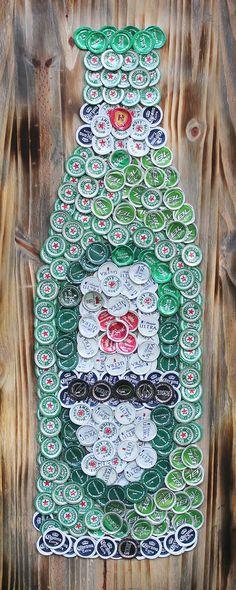 """Beer/Bottle Cap Heineken Beer Bottle (36"""" x 16"""")  Signed Original, Ready To Hang"""