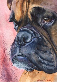 Boxer ORIGINAL watercolor Painting art cute Sweet Dog Decor