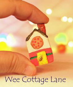 Village Pizza Shop, Wee Cottage Lane, Tiny House, Ceramic House, Mini Cottage, Miniature Cottage,  Tiny Home, Miniature Home