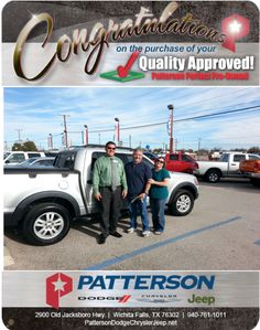 Thank you so much Tommy and Kim Thompson. Congratulations on your 2010 Ford Sportrac. - From David Reece at Patterson Dodge Chrysler Jeep Ram!