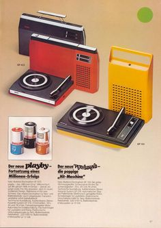Portable Vinyl & Cassette players by Playby. Vintage Advertisements, Vintage Ads, Sony Design, Portable Record Player, Funky Lighting, Record Players, Phonograph, Packaging, Old Tv
