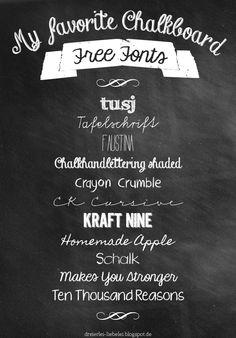 Tafelschrift: Freie Fonts, zusammengestellt von Nadine | Dreierlei Liebelei {Chalkboard-Special}