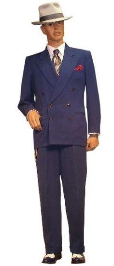 pinstriped suspenders for men | 1930's/1940's Men's Suit