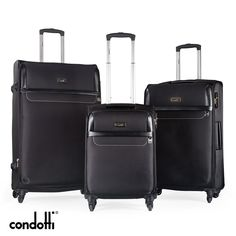 A 3 piece lightweight luggage set which will make your travelling alot easier. Key Features: 1. Aircraft-grade aluminium handle system which extends to three different heights. 2.The main compartment area is very spacious and features a zippered, mesh pocket for organization. 3. The Condotti Lite inline skate wheels makes it easier for rolling and handling.4. Material made from Polyester Lightweight Luggage Sets, Skate Wheels, Inline, 3 Piece, Travelling, Aircraft, Mesh, Handle, Organization
