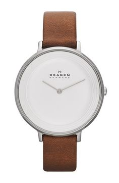 Skagen 'Ditte' Textured Dial Leather Strap Watch, 37mm available at #Nordstrom