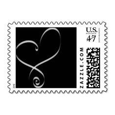 Black and White Wedding Heart Invitation Postage Stamp