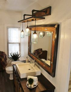 Rustic Industrial Light - Steel and Barn Wood Vanity Light (Vintage Jar Shades) w/Bulbs - Diy Bathroom Vanity, Bathroom Styling, Bathroom Interior, Modern Bathroom, Small Bathroom, Small Rustic Bathrooms, Bathroom Ideas, Bathroom Organization, Ikea Bathroom