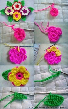 Crochet Flower Patterns Step by step images of this pretty pink and yellow flower. ﻬஐCQஐﻬ crochet spring crochetflowers flowers - Step by step images of this pretty pink and yellow flower. Crochet Diy, Crochet Motifs, Crochet Flower Patterns, Love Crochet, Crochet Crafts, Yarn Crafts, Crochet Stitches, Crochet Projects, Knitting Patterns