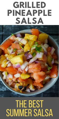 This pineapple salsa is sweet, spicy, and super juicy! It is the perfect topping for your taco, side to your barbeque, or just a delicious and nutritious homemade snack! #itstartswithgoodfood #pineapplesalsa #summersalsa #pineapplerecipes Yummy Appetizers, Appetizers For Party, Appetizer Recipes, Dinner Recipes, Dessert Recipes, Barbecue Recipes, Grilling Recipes, Cooking Recipes, Pineapple Recipes
