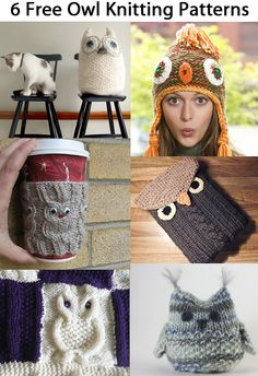 6 free owl knitting patterns including cup cozy, large softie owl, tablet cover, small softie owl, and blanket square