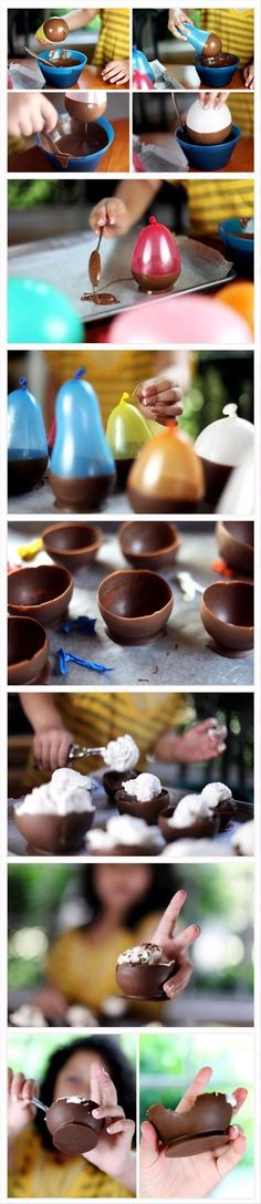 Easy  Delicious Chocolate Bowls ....do these in white chocolate and tint to party color add sprinkles etc.