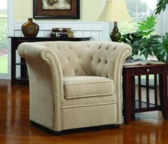 Amazon.com: Coaster 902034 High-Back Chair with Round Wood Feet, Beige: Home & Kitchen