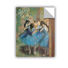 ArtApeelz 'Dancers in Blue' by Edgar Degas Painting Print Removable Wall Decal