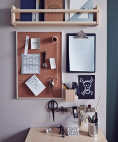 An organized wall next to a desk with a shelving unit, a clipboard and a noticeboard