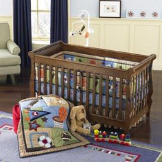 Football, Baseball, Basketball and Soccer Baby Boy 4pc Nursery Crib Bedding Set