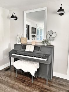 Spring Home Tour - Part 1 - Bold Boundless Blonde Piano Living Rooms, Formal Living Rooms, Living Room Modern, Home And Living, Living Room Decor, Piano Room Decor, Piano Restoration, Painted Pianos, White Piano