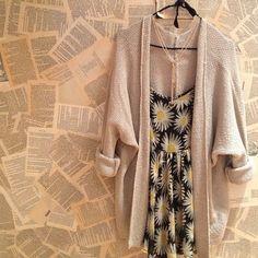 Sundress + oversized cardigan.