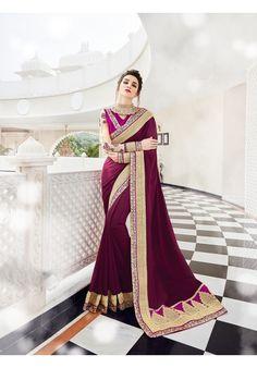 Designer Purple Georgette Partywear Saree With Heavy Work