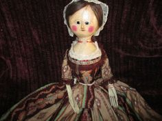 "29"" Antique Large English Wooden George III Doll With Great Clothing - Exc Cond"