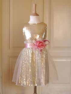 Spring is here~ Flower girl Dress Wedding Bridesmaid Salmon-Pink Gold Sequin Tulle Pageant Party Bridal