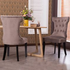 Belleze Set Of 2, Elegant Tufted Upholestered Dining Chair, Taupe
