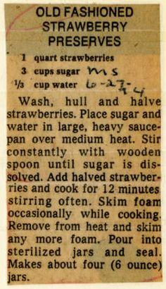 Old Fashioned Strawberry Preserves. :: Historic Recipe