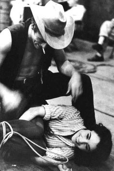 James Dean and Elizabeth Taylor on the set of Giant, 1956