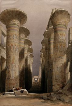 Decorated pillars of the temple at Karnac, Thebes, Egypt. Co Wellcome - Thebes, Egypt - Wikipedia Ancient Ruins, Ancient Greece, Ancient Art, Ancient History, Ancient Egyptian Architecture, Jean Leon, Empire Ottoman, Egyptian Art, Archaeology