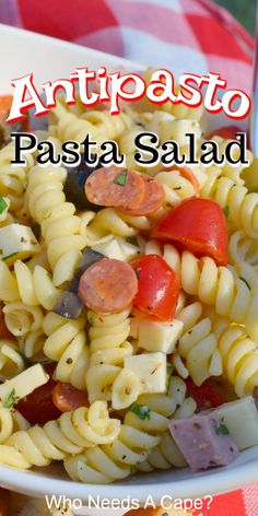 Loaded Antipasto Pasta Salad is the perfect side dish to serve when grilling at your next BBQ. Great for potlucks & picnics, and easy to make too. Quick Pasta Recipes, Healthy Salad Recipes, Greek Recipes, Italian Recipes, Antipasto Pasta Salads, Slow Cooker Freezer Meals, Salad Dressing Recipes, Vegetable Side Dishes, Potlucks