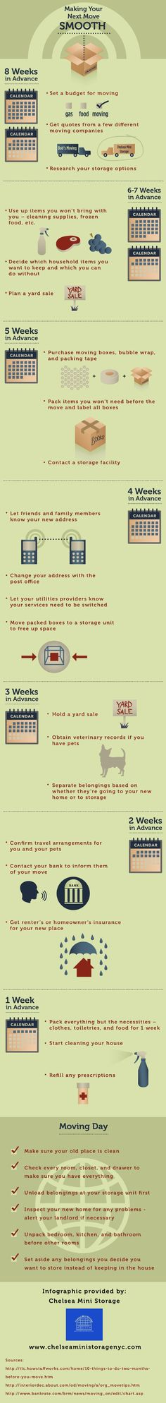 Planning a move should begin approximately 8 weeks before the actual moving date! During this time, it's important to set a moving budget, get quotes from moving companies, and research storage options. Learn more by clicking on this infographic.