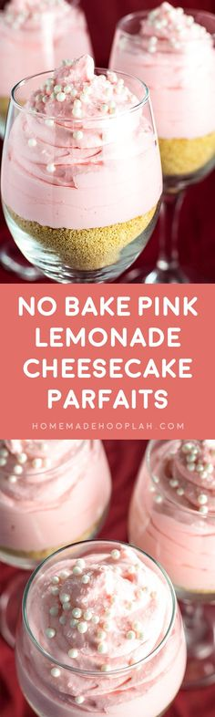 No Bake Pink Lemonade Cheesecake Parfaits! Single serve cheesecake parfaits with a hint of pink lemonade flavor on a bed of crumbled graham crackers. They're the perfect party treat for all seasons! | HomemadeHooplah.com