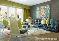 colorful and cozy den designed by Lance Jackson and David Ecton