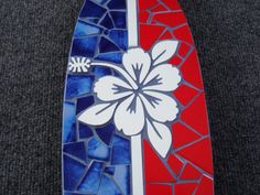 Red and Blue Mosaic Hibscus Surfboard by ShadyGroveMosaics on Etsy,