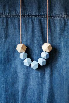 Geometric Necklace / Geometric Jewelry / Wooden by BlueBirdLab,