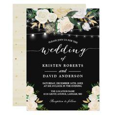 Ivory Gold White Floral String Lights Wedding Card