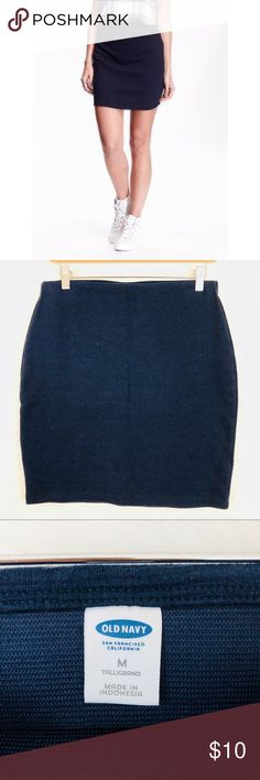Old Navy Blue Knit Elastic Waist Mini Skirt In good used condition.  Waist measures 15 inches.  Length is 18 inches.  Elastic waist for easy pull on.  Size: Medium TALL! Old Navy Skirts Mini