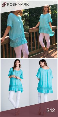 Easy Breezy Aqua Ruffled Bottom Tunic Top Description: easy breezy light top featuring ruffled short sleeve oil washed rayon challis loose fit babydoll ruffle tunic  Fabric: rayon challie; Content: 100%rayon  Fits true to size B Chic Boutique Tops Tunics