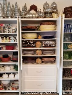 The Great Dish Storage Experiment, Plus Some New Chargers & Napkin Rings Source by kathleenroa storage China Storage, Plate Storage, Dish Storage, Pantry Storage, Closet Storage, Storage Room, Kitchen Butlers Pantry, Butler Pantry, Basement Storage Shelves