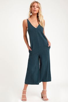 318a0854c7a Boho Jumpsuit - Washed Navy Blue Jumpsuit - Culotte Jumpsuit
