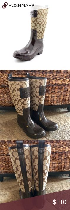 COACH Pearl Rainboots 💥BUNDLE & SAVE 30%💥 Worn twice, no blooming, canvas upper with Coach's signature print, brown rubber sole, i do not have the box for these. *MAKE OFFER Coach Shoes Winter & Rain Boots